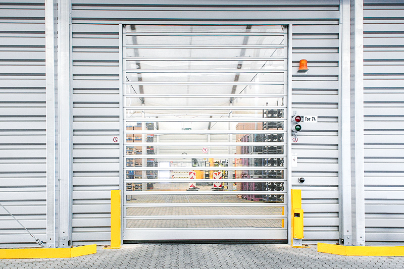 Logistics centre temp building with rapid action doors