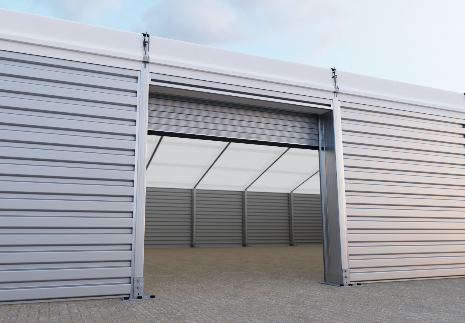 Roller shutter door with specially constructed eaves